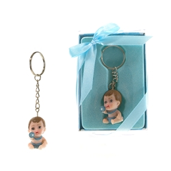 Mega Favors - Baby Poly Resin Key Chain in Gift Box - Blue