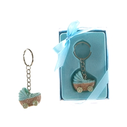 Mega Favors - Baby Stroller Poly Resin Key Chain in Gift Box - Blue