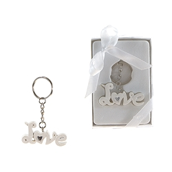 Mega Favors - Love Poly Resin Key Chain in Gift Box - White