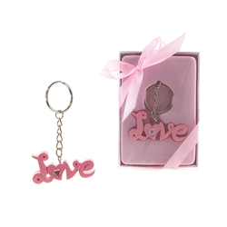 Mega Favors - Love Poly Resin Key Chain in Gift Box - Pink