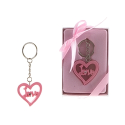 Mega Favors - Heart Poly Resin Key Chain in Gift Box - Pink