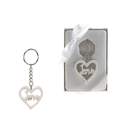 Mega Favors - Heart Poly Resin Key Chain in Gift Box - White