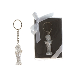 Mega Favors - Baby Angel Reading Bible Poly Resin Key Chain in Gift Box - White