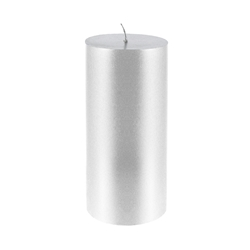 "Mega Candles - 3"" x 6"" Unscented Round Pillar Candle - Silver"