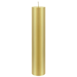 "Mega Candles - 2"" x 9"" Unscented Round Pillar Candle - Gold"