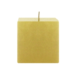 "Mega Candles - 3"" x 3"" Unscented Square Pillar Candle - Gold"