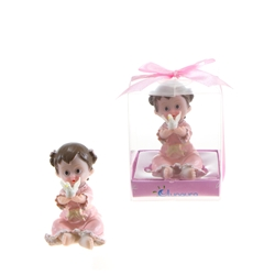 Mega Favors - Baby Toddler in Robe Holding Dove Poly Resin in Gift Box - Pink