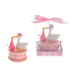 Mega Favors - Stork Carrying Clear Pacificer Poly Resin in Gift Box - Pink