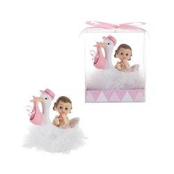 Mega Favors - Stork Carrying Pacifier and Baby Poly Resin in Gift Box - Pink