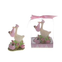 Mega Favors - Stork Carrying Newborn Baby Poly Resin in Gift Box - Pink