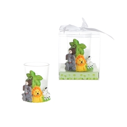 Mega Favors - Safari Animals Poly Resin Candle Set in Gift Box - White