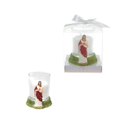 Mega Favors - Jesus Poly Resin Candle Set in Gift Box - White