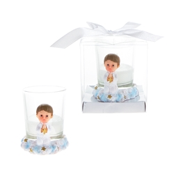 Mega Favors - Baby Toddler Praying with Cross Poly Resin Candle Set in Gift Box - Blue