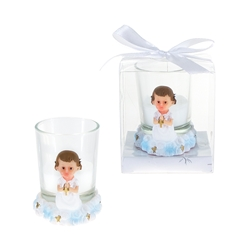 Mega Favors - Baby Toddler Praying with Cross Poly Resin Candle Set in Gift Box - Pink