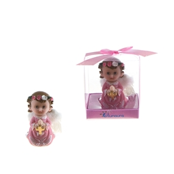 Mega Favors - Baby Toddler Praying With Wings Poly Resin in Gift Box - Pink