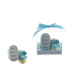 Mega Favors - Pair of Baby Shoe Poly Resin in Gift Box - Blue