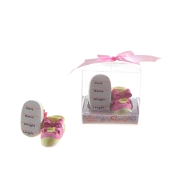 Mega Favors - Pair of Baby Shoe Poly Resin in Gift Box - Pink