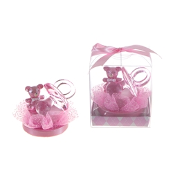 Mega Favors - Pacifier with Teddy Bear Poly Resin in Gift Box - Pink