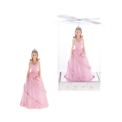 Mega Favors - Lady Wearing Gown and Holding Purse with Tiara Poly Resin in Gift Box - Pink