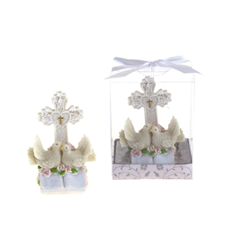 Mega Favors - Pair of Doves on Book with Cross Poly Resin in Gift Box - White