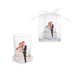 Mega Favors - Wedding Couple Standing Poly Resin Candle Set in Gift Box - White