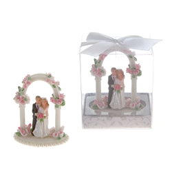 Mega Favors - Wedding Couple Standing Under Arch Poly Resin in Gift Box