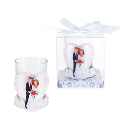 Mega Favors - Wedding Couple Standing with Heart Poly Resin Candle Set in Gift Box