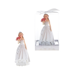 Mega Favors - Lady Holding Bouquet Poly Resin in Gift Box - White