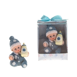 Mega Favors - Baby Wearing Winter Clothes Poly Resin in Designer Box - Blue