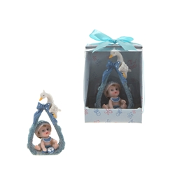 Mega Favors - Baby Sitting on Towel with Stork Poly Resin in Designer Box - Blue