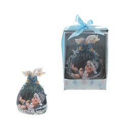 Mega Favors - Baby in a Basket with Swan Poly Resin in Designer Box - Blue