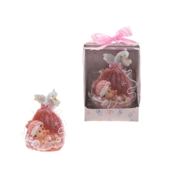 Mega Favors - Baby in a Basket with Swan Poly Resin in Designer Box - Pink