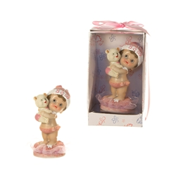 Mega Favors - Baby Holding Teddy Bear Poly Resin in Designer Box - Pink