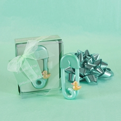 Mega Favors - Baby Safety Pin Poly Resin in Gift Box - Green