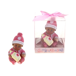 Mega Favors - Ethnic Baby Wearing Winter Clothes Poly Resin in Gift Box - Pink