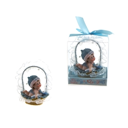 Mega Favors - Baby Crawling in Basket Poly Resin in Gift Box - Blue