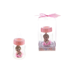 Mega Favors - Baby inside Baby Bottle Poly Resin in Gift Box - Pink