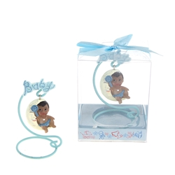 Mega Favors - Ethnic Baby Sitting on Moon Poly Resin in Gift Box - Blue