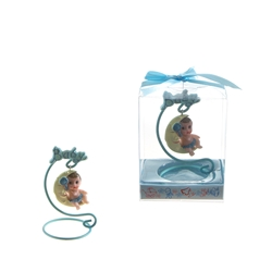 Mega Favors - Baby Sitting on Moon Poly Resin in Gift Box - Blue