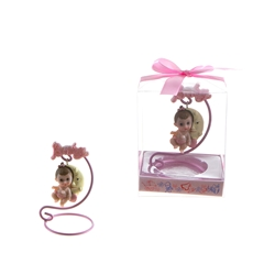 Mega Favors - Baby Sitting on Moon Poly Resin in Gift Box - Pink