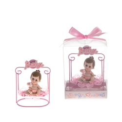 Mega Favors - Baby Sitting on Swing Poly Resin in Gift Box - Pink