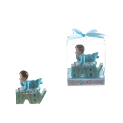 "Mega Favors - Baby on top of ""Baby"" Phrase Poly Resin in Gift Box - Blue"