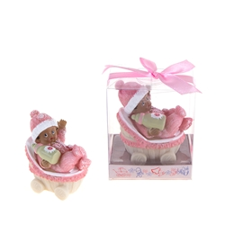 Mega Favors - Ethnic Baby Wearing Winter Clothes in Carriage Poly Resin in Gift Box - Pink