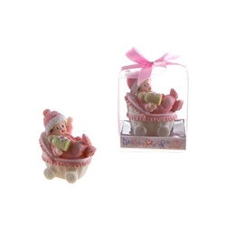 Mega Favors - Baby Wearing Winter Clothes in Carriage Poly Resin in Gift Box - Pink