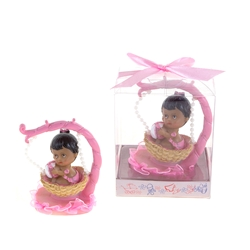 Mega Favors - Ethnic Baby Sitting in Hanging Basket Poly Resin in Gift Box - Pink