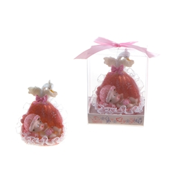 Mega Favors - Baby in a Basket with Swan Poly Resin in Gift Box - Pink