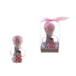 Mega Favors - Baby in Hot Air Balloon Poly Resin in Gift Box - Pink