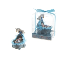 Mega Favors - Baby in Baby Carriage with Stork Poly Resin in Gift Box - Blue