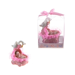 Mega Favors - Baby in Baby Carriage with Stork Poly Resin in Gift Box - Pink