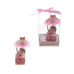 Mega Favors - Baby in Gift Box with Awning Poly Resin in Gift Box - Pink